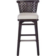 The use of laced rawhide and rattan gives this bar/counter stool its casual elegance. The design features a low backrest woven in laced rawhide to reveal a large curved rattan top rail beneath. The design includes an upholstered seat, gently flared legs and a rattan foot rail with protective, brass-covered front rail.