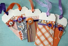 Gift tags made with pretty patterned paper, buttons, and ribbon