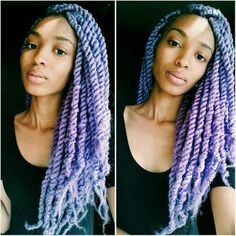 black girl with colorful hair, purple hair, lavender hair, inspiration, afro twists, afro hairstyle