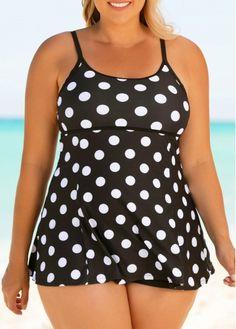 1111ab4206 Plus Size Polka Dot Print Black One Piece Swimdress