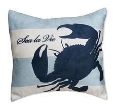 "Crab Pillow Cover Sea la Vie 16""x17"" Microsuede - Coastal Beach House Decor"