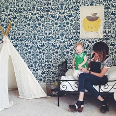 Adorable kids room featuring Otomi (Turquoise) via @chelseacampbell_