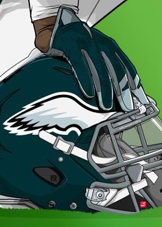 "NFL Team Helmets Philadelphia Eagles #Displate artwork by artist ""Akyanyme Dotcom"". Part of a 32-piece set featuring helmet designs based on team emblems from the NFL National Football League. £38 / $51 per poster (Regular size), £76 / $102 per poster (Large size) #NFL #NationalFootballLeague #AmericanFootball #SuperBowl #PhiladelphiaEagles #Eagles"