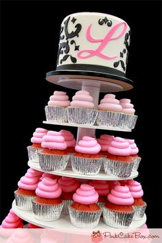 Sweet 16 Ombre Damask Cupcake Tower