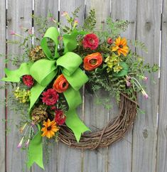 Wreath, Spring / Summer Wreath, Spring, Spring Wildflower Wreath, Door Wreath,Mothers Day,Summer Wreath, Etsy, Horn's Handmade