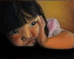 """ARTFINDER: Amelie-An 2 by Thu Nguyen - this painting is part of """"Amelie-An Series"""".   Amelie-An was born in Can Tho Vietnam in 2008.  In December of 2008, I returned to Vietnam for the first time..."""