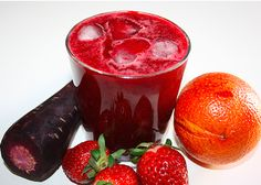 Morning Red Riser Juice 1 beet (beetroot) 1 purple carrot 1 cup (150 g) strawberries 2 blood oranges 2 celery sticks