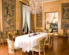 Villa Nechi-Campiglio (Milan, 1932): amazing interplay between modern materials and antique furniture & tapestries. Architects Piero Portaluppi (villa) & Tomasso Buzzi (interior design)