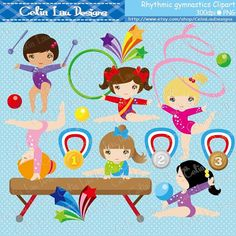 Rhythmic gymnastics Clipart, Cute girl sport Digital Clipart set includes 24 cute graphics Graphics are PERFECT for the Scrapbooking, Cards