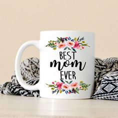 """Needing a Mother's Day Gift for the special mom in your life? This """"Best Bonus Mom Ever"""" ceramic coffee mug would be perfect! St Paddys Day, St Patricks Day, Saint Patricks, Grandma Gifts, Gifts For Mom, Mother's Day Mugs, Hand Painted Mugs, Happy Birthday Mom, Xmas Holidays"""