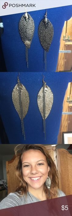 Earrings Gold and black tin leaf earring with chains Jewelry Earrings