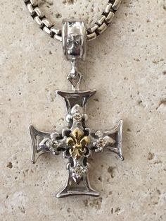 Sterling Silver Cross Fleur de lis Gold & Diamonds by Roman Paul… Art Necklaces, Silver Necklaces, Gold Earrings, Gothic Necklaces, Renaissance Jewelry, Gothic Jewelry, Jewelry Art, Sterling Silver Cross, Bracelets For Men