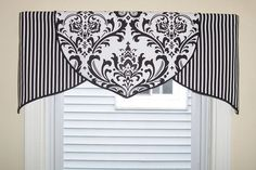 Custom Black White Damask Tulip Valance ORDER ONLY in Home & Garden, Window Treatments & Hardware, Curtains, Drapes & Valances Bathroom Window Coverings, Kitchen Window Valances, Bathroom Window Curtains, Valance Window Treatments, Kitchen Window Treatments, Bathroom Windows, Cornices, Bedroom Curtains, Gypsy Curtains