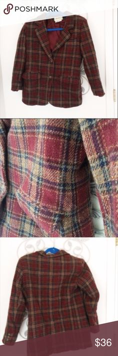 Eddie Bauer Women's Vintage Small Jacket This is 100% wool and a burgundy plaid design. It is lined in 100% acetate and assembled in Honduras. It's made out of US materials. Long sleeve design would be a really cute boyfriend style. Some fuzziness from age. Eddie Bauer Jackets & Coats Blazers