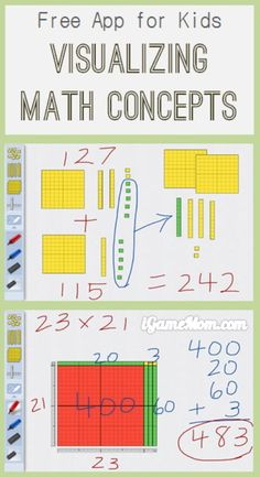 Free App: Visualize Math Concepts with Number Pieces - Mathe Ideen 2020 Math Teacher, Math Classroom, Teaching Math, Preschool Kindergarten, Math Strategies, Math Resources, Math Activities, Singapore Math, Homeschool Math