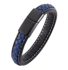 Fashion Men Bracelets Black Blue Braided Leather Bracelet Charm Stainless Steel Magnetic Clasp Bangles Male Jewelry - Daily Buy Tips Couple Bracelets, Bracelets For Men, Buddha Beads, Braided Leather, Fancy, Stone Beads, Bangles, Charmed, Mens Fashion