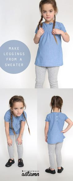 She made leggings for her daughter from old sweaters - they look so cozy! The sewing tutorial looks really easy, too. Sewing Patterns For Kids, Sewing Projects For Kids, Sewing For Kids, Baby Sewing, Free Sewing, Diy Projects, Serger Projects, Sew Baby, Sewing Ideas