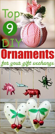 9 Christmas DIY Ornaments.  Amazing ornament ideas for your gift exchange.