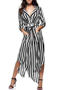 $18.17 Fashionable Lapel Collar Long Sleeve Striped Pockets Belted Dress For Women