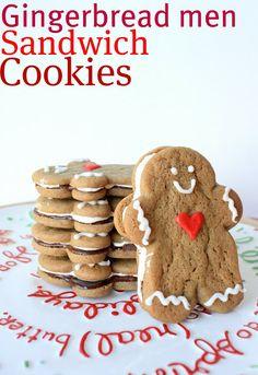 Gingerbread Men Sandwich Cookies @KatrinasKitchen