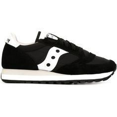 Saucony Jazz Original Sneakers (860 NOK) ❤ liked on Polyvore featuring shoes, sneakers, black, saucony sneakers, kohl shoes, black trainers, real leather shoes and black sneakers
