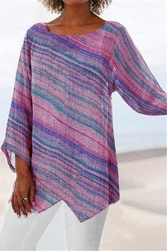 Casual T Shirts, Casual Tops, Holiday Blouses, Blouses For Women, T Shirts For Women, Plus Size Summer, Maxi Dress With Sleeves, Color Stripes, Stripe Print