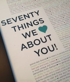 70 Things We Love About You Great Idea For A 70th Birthday Gift