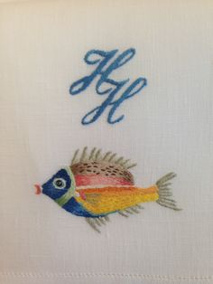 Léron Linens | custom embroidered monograms to match these fish!