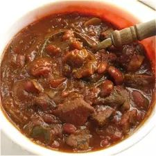 Rich, oven-baked chili, perfect for a cold fall or winter night.