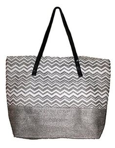 Color Block Zippered Top Tote Beach Bag 21