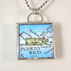 Puerto Rico Map Pendant Necklace by XOHandworks $20