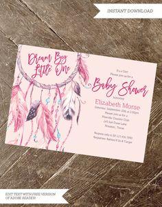 Dream Catcher Baby Shower Invitation  Boho by InstantPartyPlanner