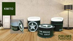 a Furniture with a special graphic design like Us Army made with oil drums recycled for more info please contact me on camito.ro@hotmail.com