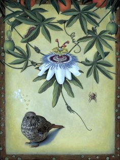 Passion Flower by Susan McDonnell. Egg tempera on panel. Contemporary