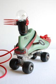 Clockwork Flying Roller Skate Handcrafted vintage desk / floor lamp by fishtail45