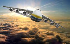 Download wallpapers 4k, AN-225, flying plane, Cossack, cargo plane, Antonov An-225 Mriya, transport aircraft, Ukraine, AN225, biggest plane, Antonov Airlines, Ukrainian aircraft