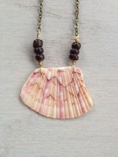 Seashell Necklace with Broken Shell and Wooden Beads / OOAK Jewelry