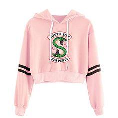 Crop Top Harajuku Kawaii Hoodie Riverdale South Side Serpent Print Pink Hoodies Sweatshirts Color black Size S Crop Top Hoodie, Cropped Hoodie, Hoodie Sweatshirts, Teen Fashion Outfits, Outfits For Teens, Fashionable Outfits, Fashion Clothes, Riverdale Merch, Riverdale Fashion