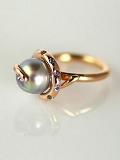 Alejandra Jewels Sea of Cortez Cultured Baroque Pearl, Spinel, Sapphire and Diamond Rose Gold Flamenco Ring
