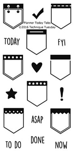 """TECHNIQUE TUESDAY: Planner Today Tabs (2"""" x 4"""" Clear Photopolymer Stamp) This clear photopolymer stamp set is great for your planners, calendars and pocket scrapbooks. Set measures approximately 2"""" x"""