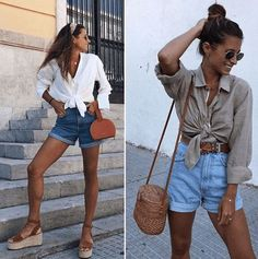 Outfits with Mom Shorts – 28 Ideas on How to Wear Mom Shorts Outfits with mom shorts. The fashion seems to be making a comeback with the mom shorts. These happen to be an all-year-round favorite for the multiple ways that they can be styled. Look Short Jeans, Jean Short Outfits, Look Con Short, Jeans For Short Women, Italy Outfits, Mom Outfits, Cute Outfits, Fashion Outfits, Beautiful Outfits