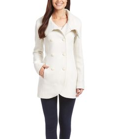 Another cream coat that I absolutely love!! Jessica Simpson Collection Off-White Button-Up Coat by Jessica Simpson Collection on #zulily! #zulilyfinds