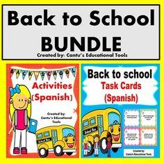 Back to school activities and task cards bundle:  Este paquete incluye actividades y tarjetas para usarse las primeras semanas de…