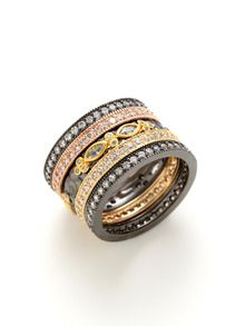 Set Of 5 Multi Colored Stack Rings by Belargo brought to you by Gilt