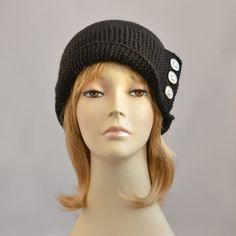 cd4ee0b4920 Black Robin Hood Knit Hat or Handmade Knitted by SlouchyBeanie Knitted Hats