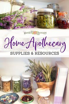 Home Apothecary Supplies and Resources for Natural Beauty Recipes. Everything you need to assemble your own herbal apothecary for natural beauty recipes. Beauty Create a Herbal Home Apothecary with this Supplies & Resource Guide - Garden Therapy Healing Herbs, Medicinal Herbs, Natural Healing, Natural Oil, Natural Home Remedies, Herbal Remedies, Health Remedies, Holistic Remedies, Natural Medicine