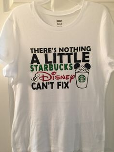 Handmade Custom Disney & Starbucks inspired shirt with glitter accents.