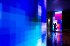"""Ivan Toth Depeña's light-based installation """"Reflect"""" was permanently installed in the Stephen Clark Government Center Lobby in Miami"""