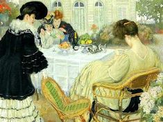 Caro-Delvaille, Henry (1876-1926) Ladies taking tea, 1902
