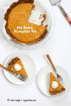 No Bake Vegan Pumpkin Pie with Gingerbread Crust #dessert